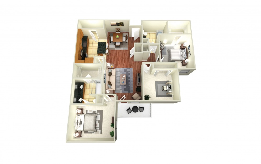 Amsterdam - 3 bedroom floorplan layout with 2 baths and 1425 square feet.