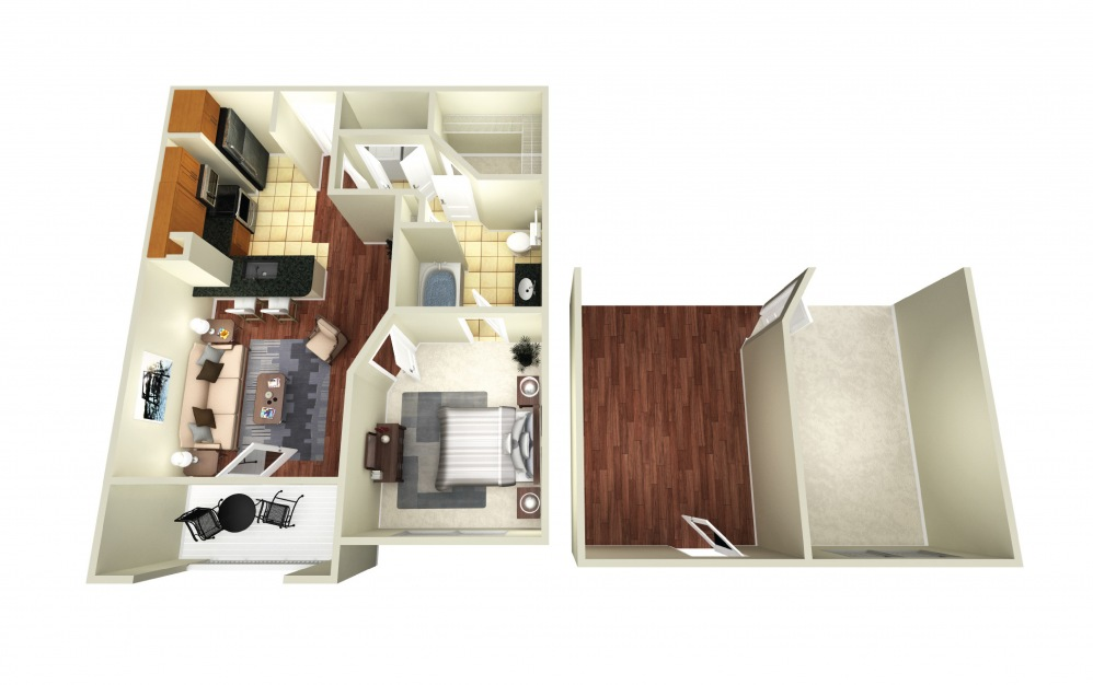 Athens II - 1 bedroom floorplan layout with 1 bath and 712 square feet.