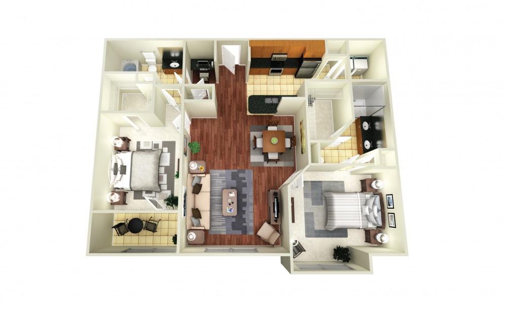 Atlanta - 2 bedroom floorplan layout with 2 baths and 1177 square feet.