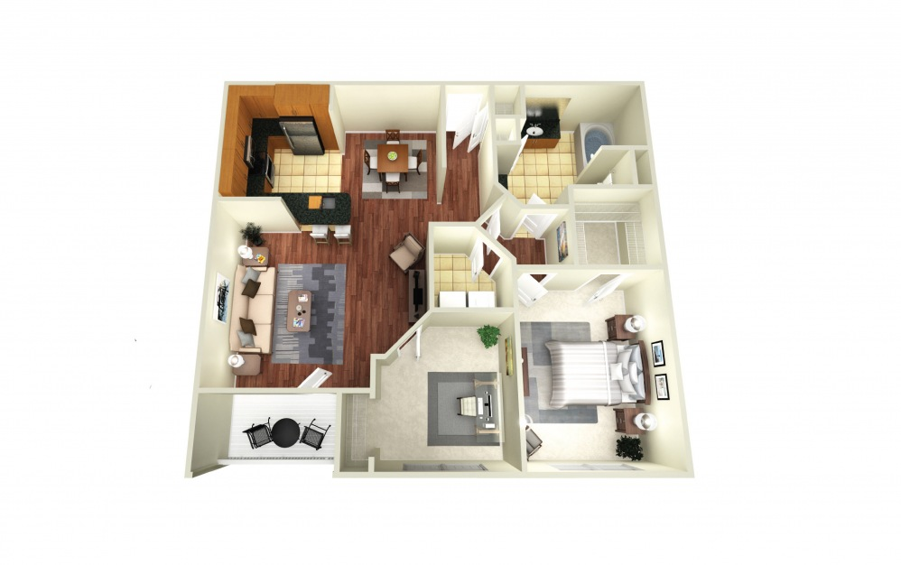 Barcelona - 1 bedroom floorplan layout with 1 bath and 985 square feet.