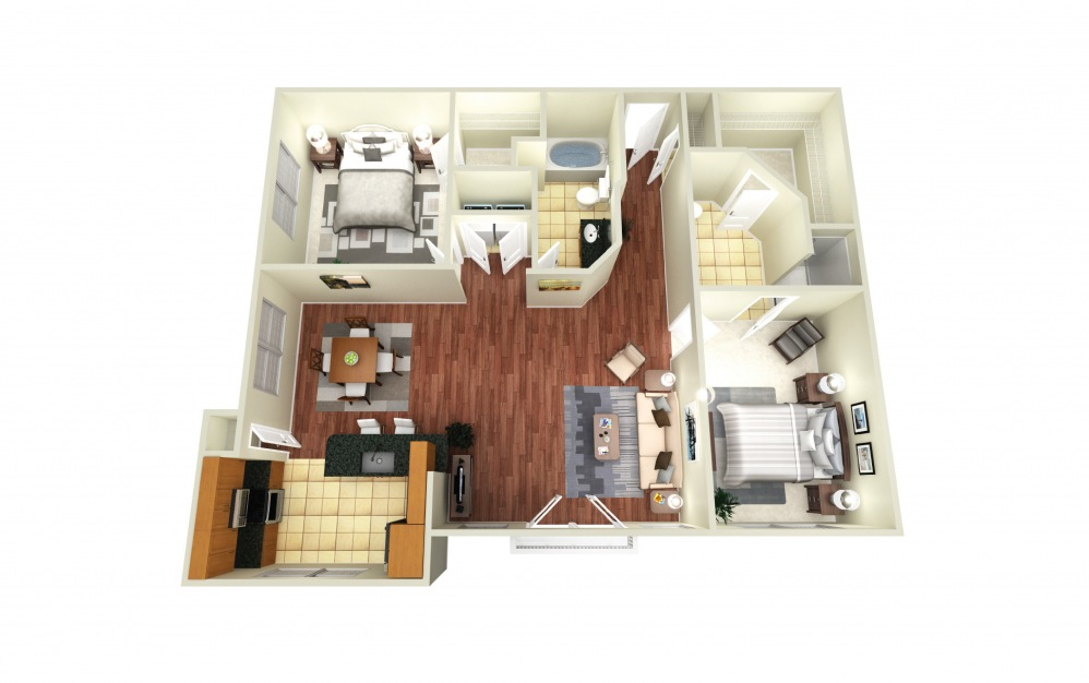 Berlin - 2 bedroom floorplan layout with 2 baths and 1273 square feet.