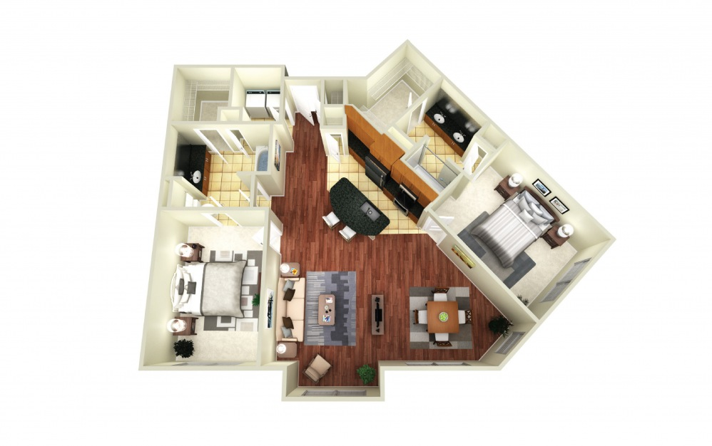 London - 2 bedroom floorplan layout with 2 baths and 1227 square feet.