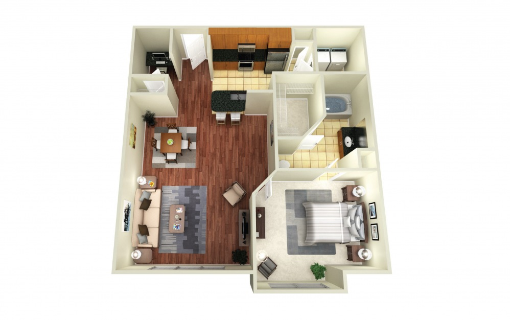 Melbourne - 1 bedroom floorplan layout with 1 bath and 897 square feet.