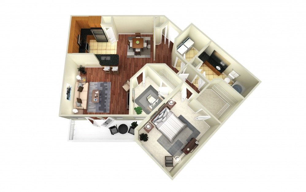 Montreal - 1 bedroom floorplan layout with 1 bath and 1066 square feet.