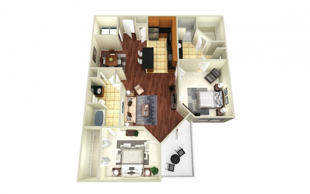 Moscow - 2 bedroom floorplan layout with 2 baths and 1202 square feet.