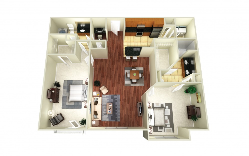 Paris - 2 bedroom floorplan layout with 2 baths and 1237 square feet.