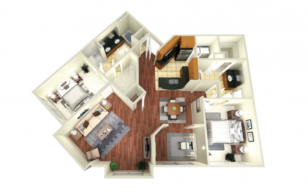 Rome - 2 bedroom floorplan layout with 2 baths and 1363 square feet.