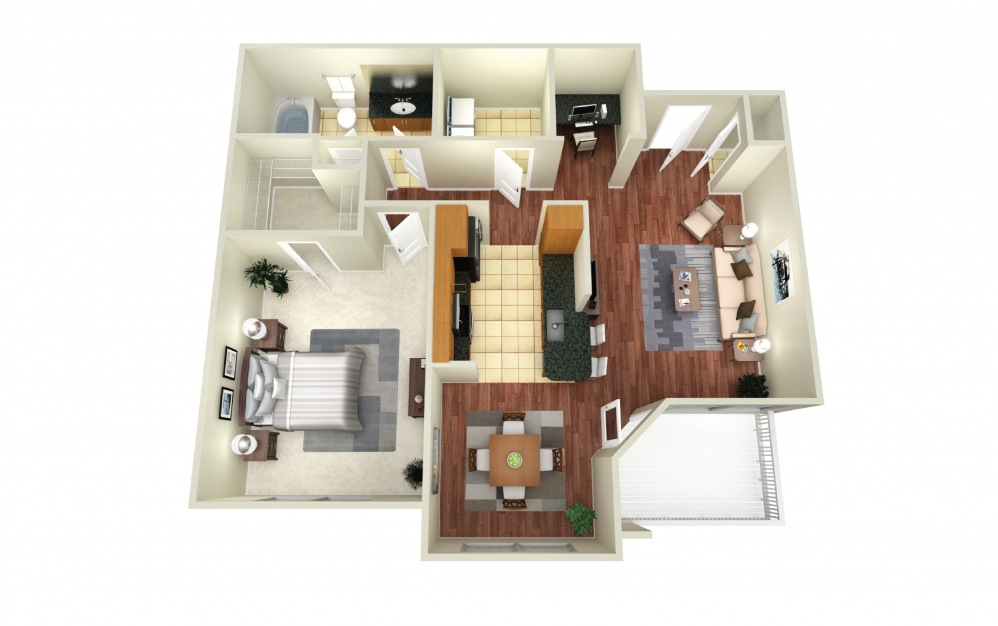 Sydney - 1 bedroom floorplan layout with 1 bath and 778 square feet.